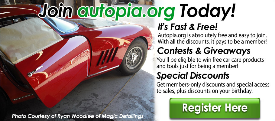 Autopia.org- Join Our Community Today. By joining our free community you will have access to post topics, communicate privately with other members (PM), respond to polls, Free Product Giveaways, upload content, your choice of 15% Off autopia-carcare.com or Free Shipping, access to manufacturer representatives , and access many other special features. Registration is fast, simple and absolutely free.