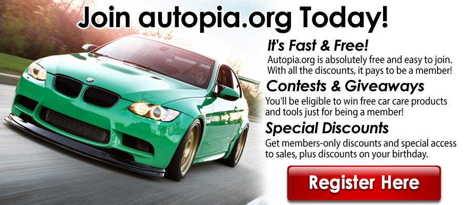 Autopia.org- Join Our Community Today. By joining our free community you will have access to post topics, communicate privately with other members (PM), respond to polls, Free Product Giveaways, upload content, your choice of 15% Off autopia-carcare.com or Free Shipping, access to manufacturer representatives , and access many other special features. Registration is fast, s