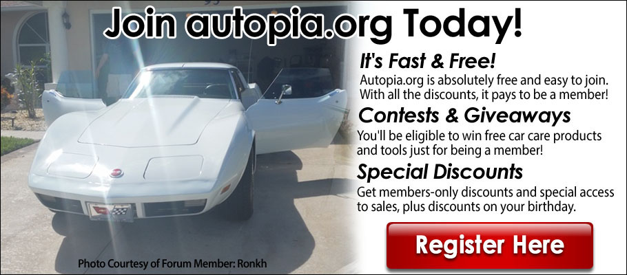 Autopia.org- Join Our Community Today. By joining our free community you will have access to post topics, communicate privately with other members (PM), respond to polls, Free Product Giveaways, upload content, your choice of 15% Off autopia-carcare.com or Free Shipping, access to manufacturer representatives , and access many other special features. Registration is fast, simple and absolutely free so please